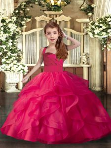 Sleeveless Organza Floor Length Lace Up Little Girls Pageant Dress in Coral Red with Ruffles and Ruching