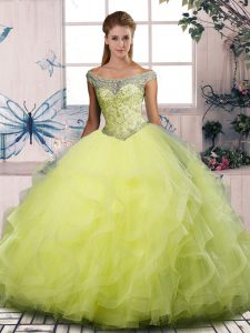 Pretty Floor Length Yellow Green Sweet 16 Quinceanera Dress Off The Shoulder Sleeveless Lace Up