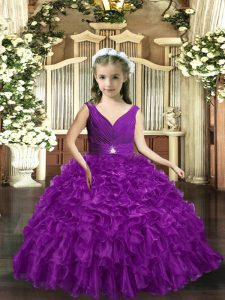 Inexpensive Floor Length Eggplant Purple Pageant Dress Womens Organza Sleeveless Ruffles