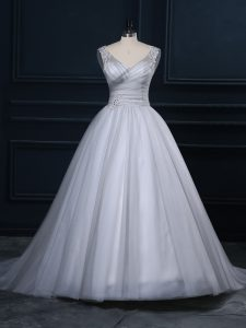 Shining Sleeveless Beading and Appliques Lace Up Wedding Gown with Grey Court Train