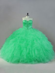 Discount Floor Length Apple Green Quinceanera Gowns Sweetheart Sleeveless Lace Up