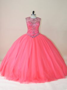 Watermelon Red Sleeveless Tulle Lace Up 15 Quinceanera Dress for Sweet 16 and Quinceanera