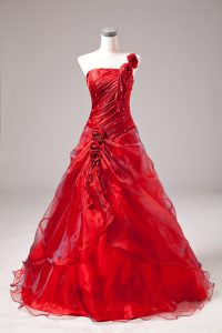 Cute Red Quinceanera Gown Sweet 16 and Quinceanera with Beading One Shoulder Sleeveless Lace Up