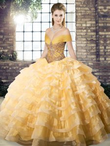 Organza Sleeveless Sweet 16 Dresses Brush Train and Beading and Ruffled Layers