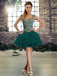 Deluxe Dark Green Straps Lace Up Beading and Ruffles Cocktail Dresses Sleeveless