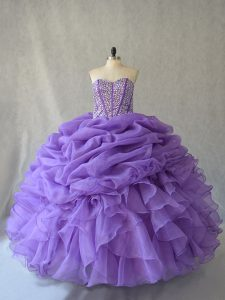 Delicate Beading and Ruffles and Pick Ups Vestidos de Quinceanera Lavender Lace Up Sleeveless Floor Length