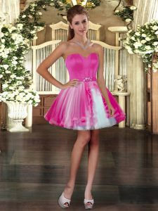 Mini Length Fuchsia Prom Gown Tulle Sleeveless Belt