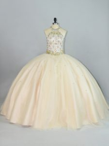 Sexy Floor Length Lace Up Quinceanera Gown Champagne for Sweet 16 and Quinceanera with Beading