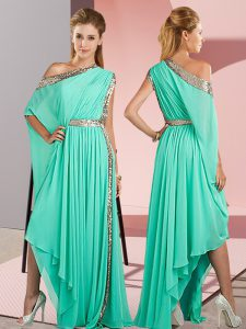 Asymmetrical Side Zipper Homecoming Dress Turquoise for Prom and Party with Sequins