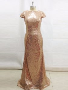 Champagne Backless Dress for Prom Sequins Short Sleeves Brush Train