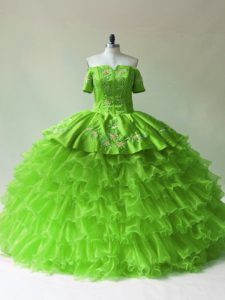 Ideal Off The Shoulder Neckline Embroidery and Ruffled Layers 15 Quinceanera Dress Sleeveless Lace Up
