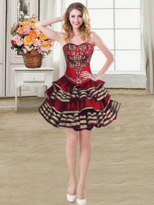 Shining Sweetheart Sleeveless Taffeta Prom Gown Embroidery and Ruffled Layers Lace Up