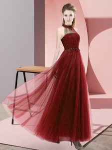 Lovely Wine Red Tulle Lace Up Halter Top Sleeveless Floor Length Quinceanera Dama Dress Beading and Appliques