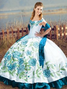 Noble Off The Shoulder Sleeveless Lace Up Ball Gown Prom Dress Blue And White Satin