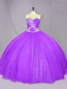 Fitting Lavender Lace Up Sweetheart Beading Sweet 16 Dress Tulle Sleeveless