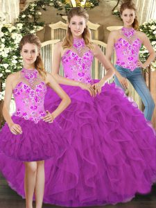 Pretty Fuchsia Sleeveless Floor Length Embroidery and Ruffles Lace Up Sweet 16 Dress