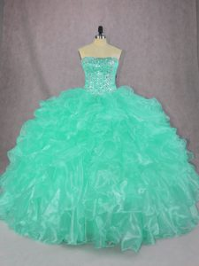 Superior Sleeveless Floor Length Beading and Ruffles Lace Up Sweet 16 Quinceanera Dress with Turquoise