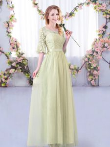 Yellow Green Side Zipper Scoop Lace and Belt Court Dresses for Sweet 16 Tulle Half Sleeves