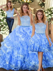 Popular Organza Scoop Sleeveless Zipper Lace and Ruffled Layers 15th Birthday Dress in Light Blue