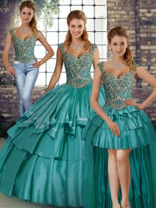 Customized Teal Taffeta Lace Up Straps Sleeveless Floor Length Sweet 16 Quinceanera Dress Beading and Ruffled Layers