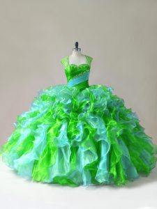 Flirting Sleeveless Organza Floor Length Zipper Sweet 16 Quinceanera Dress in Multi-color with Beading and Ruffles
