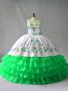Fashionable Green Ball Gown Prom Dress Sweet 16 and Quinceanera with Embroidery and Ruffled Layers Sweetheart Sleeveless Lace Up