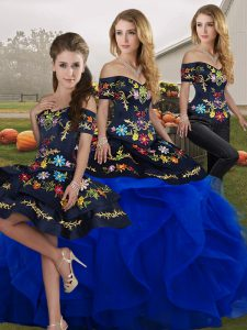 Modern Off The Shoulder Sleeveless Ball Gown Prom Dress Floor Length Embroidery and Ruffles Royal Blue Tulle