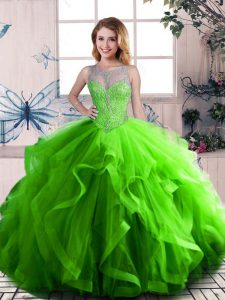 Green Scoop Lace Up Beading and Ruffles Sweet 16 Dresses Sleeveless