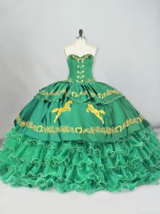 Most Popular Sweetheart Sleeveless Brush Train Lace Up 15 Quinceanera Dress Green