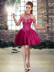 Fuchsia Sleeveless Mini Length Beading Lace Up Prom Evening Gown