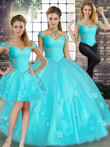 Delicate Off The Shoulder Sleeveless Quinceanera Gowns Floor Length Beading and Appliques Aqua Blue Tulle