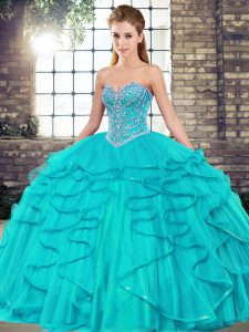 Aqua Blue Sleeveless Floor Length Beading and Ruffles Lace Up Sweet 16 Quinceanera Dress