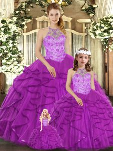 Attractive Floor Length Purple Sweet 16 Dresses Halter Top Sleeveless Lace Up