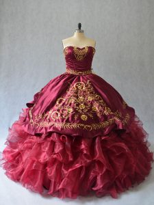 Flare Burgundy Ball Gowns Beading and Embroidery 15 Quinceanera Dress Lace Up Organza Sleeveless