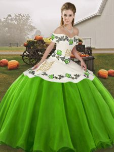 Latest Sleeveless Floor Length Embroidery Lace Up Sweet 16 Dresses with Green
