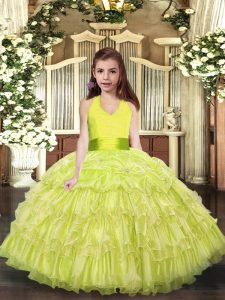 Floor Length Yellow Green Little Girl Pageant Dress Halter Top Sleeveless Lace Up