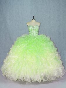 Great Multi-color Sleeveless Floor Length Beading and Ruffles Lace Up Sweet 16 Quinceanera Dress