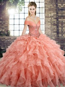Pretty Peach Sleeveless Organza Brush Train Lace Up Sweet 16 Quinceanera Dress for Military Ball and Sweet 16 and Quinceanera