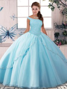 Lace Up 15th Birthday Dress Light Blue for Military Ball and Sweet 16 and Quinceanera with Beading Brush Train