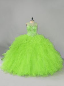Ball Gowns Scoop Sleeveless Tulle Lace Up Beading and Ruffles Vestidos de Quinceanera