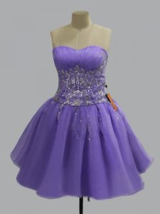 Organza Sweetheart Sleeveless Lace Up Beading in Lavender