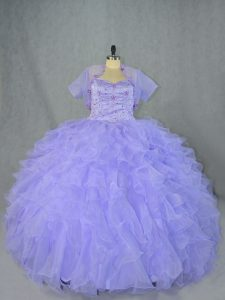 Lavender Sleeveless Floor Length Beading and Ruffles Lace Up Sweet 16 Quinceanera Dress