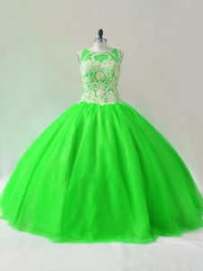 Gorgeous Ball Gowns Quinceanera Dress Green Scoop Tulle Sleeveless Floor Length Lace Up