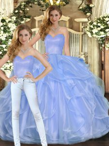 Dramatic Floor Length Lace Up Quinceanera Dresses Lavender for Military Ball and Sweet 16 and Quinceanera with Ruffles
