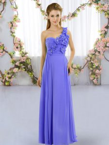 Superior Lavender Empire Hand Made Flower Wedding Guest Dresses Lace Up Chiffon Sleeveless Floor Length
