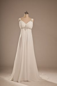 White Empire Chiffon Straps Sleeveless Beading Lace Up Wedding Dress Brush Train