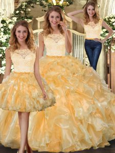 New Arrival Sleeveless Organza Floor Length Clasp Handle Quince Ball Gowns in Gold with Lace and Ruffles
