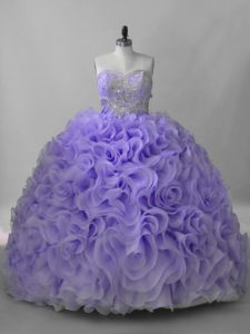 Lavender Sleeveless Beading Lace Up Quinceanera Dress