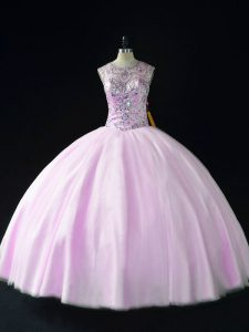 Eye-catching Lilac Sleeveless Tulle Lace Up Vestidos de Quinceanera for Sweet 16 and Quinceanera