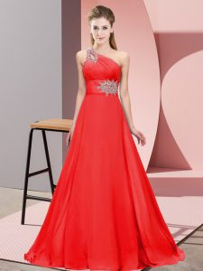 Vintage One Shoulder Sleeveless Prom Gown Brush Train Beading Red Chiffon